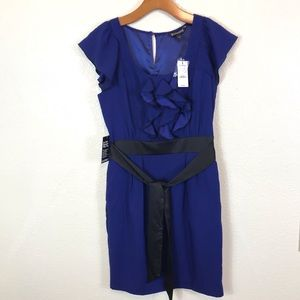 Express NWT Ruffle Front Belted Midi A-line Dress